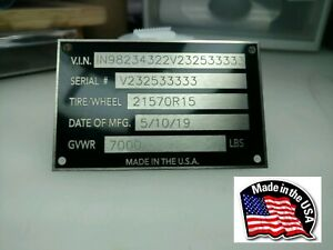 Engraved 5 Line Trailer Id Data Plate Vin Number Data Tag Nameplate