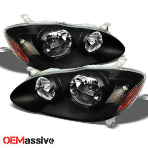 Fits 03 08 Toyota Corolla Amber Black Bezel Headlights Replacement Assembly Pair