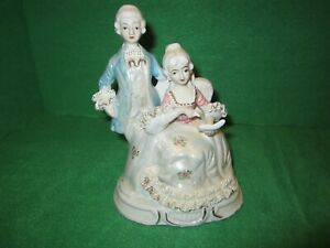 Porcelain French Renaissance Couple Figurine Lace Pattern Iridescent Tint