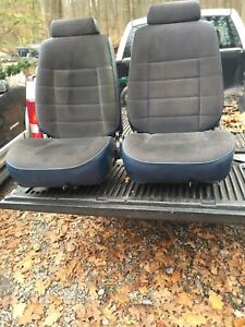 85 86 Mustang Lx Original Bucket Seat With Tracks Headrest Set