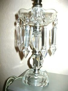 Vintage Crystal Working 13 Table Lamp W 8 Long 4 1 2 Crystals A Beauty