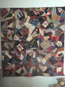 Antique Vintage Beautiful Crazy Quilt Lots Of Embroidery Silk Velvet C 1887