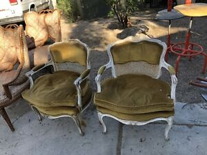 Antique Pair French Shabby Chic Chairs