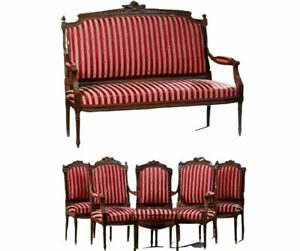 French Louis Xvi Style Six Piece Carved Walnut Parlor Early 1900s
