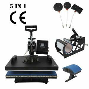 5 In 1 Sublimation Heat Press Transfer Machine T shirt Printer Mug Cup Plate Hat