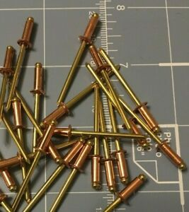 Alcoa Marson Copper brass 44 Blind Rivets 1 8 X 1 4 Qty 100 made In Usa