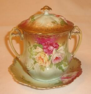 Mz Austria Altrohlau Handpainted Roses Large Sugar Bowl W Lid And Underplate