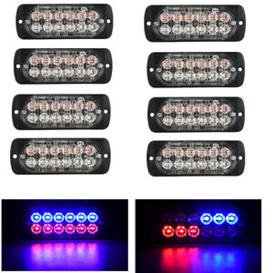 8x Red blue 12led Flash Recovery Strobe Car Emergency Warning Light Grill 12 24v