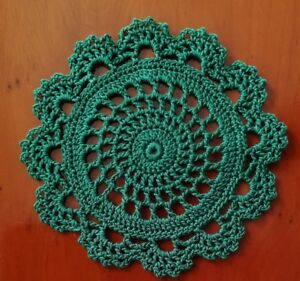 Crochet Cotton Doily Coaster 11cm Green Circle And Lace