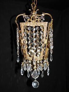 Antique Petite Crystal Empire Chandelier 3 Lights Birdcage