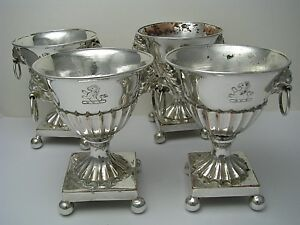 Set Of 4 Silver Plated Egg Cup Holder Copper Goblet Zarf Fincan England Ca1870 S