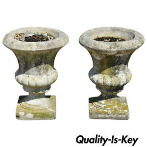Pair Of Vintage 20 High Urn Form Cement Garden Patio Planter Pots