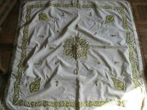 Antique Velvet Ottoman Embroidery Gold Thread Coverlet Tablecloth Wrapper