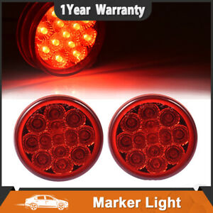 2x Red Round 2 5 Inch Side Marker Light Truck Trailer Clearance Lamp 13led 12v