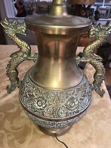 Vintage Copper Asian Chinese Dragon W Ball Lamp Large