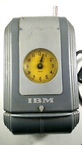 Vintage Ibm Manual Time Card Punch Clock Machine Model 780 Art Deco Made In Usa