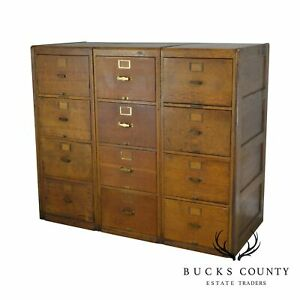 Library Bureau Solemakers Antique Oak 3 Section 12 Drawer File Cabinet