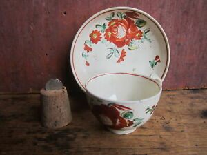 English Earthenware Creamware King S Rose Brushstroke Decorated Cup