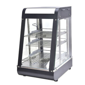 Commercial Food Warmer Court Heat Food Pizza Display Warmer Cabinet 15 Glassus