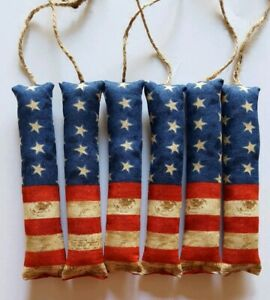 Primitive Americana Flag Firecrackers Bowl Filler Ornies Accents 6 Pcs