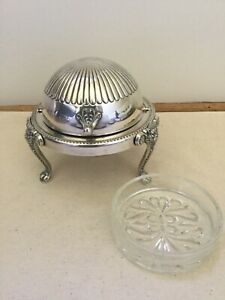 F B Rogers Silver Co 273 Silver Plate Butter Dome Dish With Glass Dish Insert