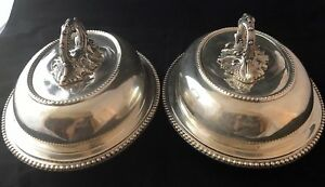 Two Matching Baroque Silver Plate Chafing Dishes W Lid Unmarked