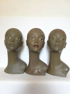 Durable Lot Of 3 Heads Mannequins For Jewelry Hat And Wig Display