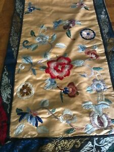 Chinese Vintage Silk Runner 37 X 10 3 4 With Backing Needlework Some Wear