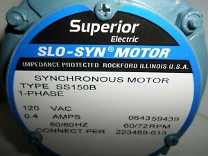 new Superior Electric Ss150b Slo syn Syncronous stepping Motor 120vac 72 Rpm
