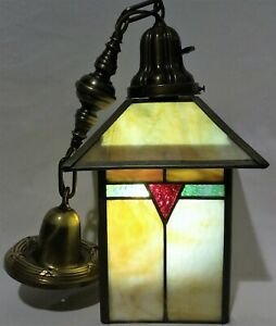 Antique C1905 Early Arts Crafts Pendant Light Lantern Brass Stained Slag Glass