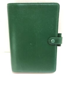 Filofax Windsor In Green 5x7 Leather Address Book Day Planner