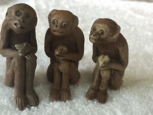 Antique Miniature Chinese Ceramic Monkey Carving Lot Of 3