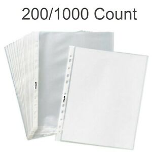 Clear Sheet Protectors Plastic Office Document Page Sleeves 200 Or 1000 Count