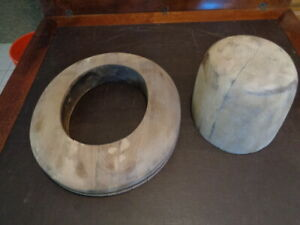 Vtg Millinery Wood 2 Pc Hat Block Mold Brim Form