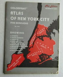 Colorprint Atlas Of New York City Five Boroughs 1445 Rapid Transit System 50s