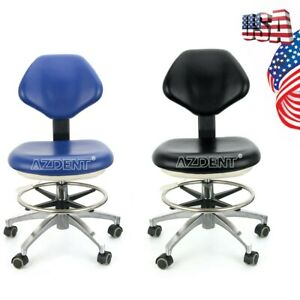 Doctor Pu Leather Adjustable Stool Dentist Hydraulic Rolling Chair Black blue A