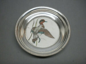 Frank M Whiting Sterling Silver Painted China Coaster Green Teal