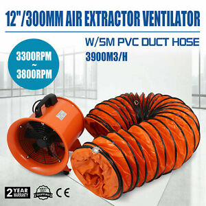 12 Extractor Fan Blower Ventilator 5m Duct Hose Electrical Exhaust Industrial