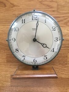 Vintage Temco Electric Mantel Clock Chrome Surround Wooden Base For Renovation
