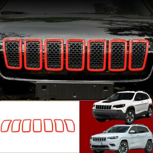 Red Abs Front Grille Inserts Mesh Grill Accessories 7pcs For 2019 Jeep Cherokee