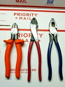 Klein Tools Usa Made Electrician s Lineman s Pliers Bundle Strippers Cutters