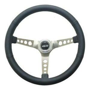 Gt Performance Steering Wheel Retro Leather Stainless Spokes P N 35 5445