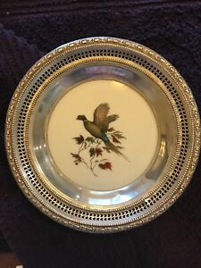 Frank M Whiting Sterling Silver Pheasant Wine Bottle Coaster