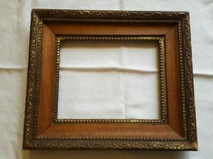 Antique Victorian Wood Picture Frame Oak And Gilded Gesso Deep Tiered