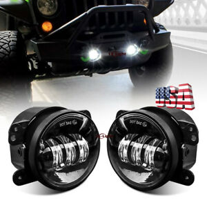 Pair 4 Led Fog Lights For 2018 19 Jeep Wrangler Jl Rubicon With Plastic Bumper