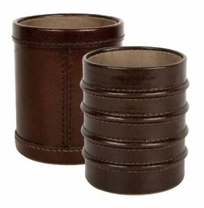 Genuine Leather Pen Pencil Desk Holder Cup Case Organizer With Fiber Sheet