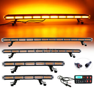 25 55 Cob Led Strobe Light Bar Amber Emergency Beacon Warn Tow Truck 40 Mode