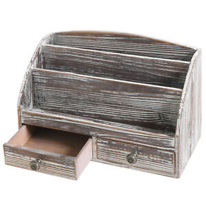 3 compartment Torched Wood Desktop Document Supply Organizer With 2 Drawers