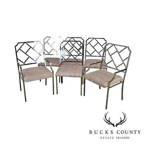 Milo Baughman Set 6 Chrome Chippendale Influenced Dining Chairs