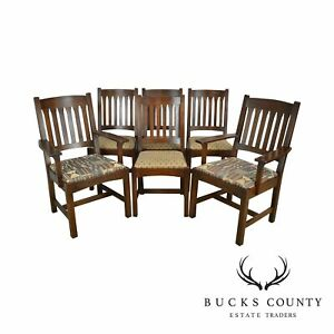 Stickley Mission Collection Oak Set 6 Cottage Dining Chairs